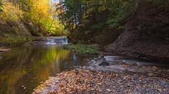 Autumn colors, upstream at Balmoral Mills (Nancy Rose) Tags: 1592pano stream waterfall