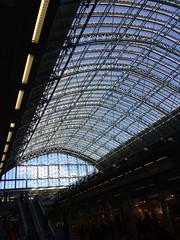 Roof (My photos live here) Tags: london st pancras station eurostar rail railway train camden roof glass escalator england capital city light day sky