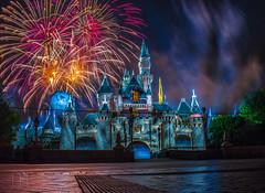 Halloween Screams Cruella de Vil segment (Domtabon) Tags: california castle dl dlr disney disneyland disneylandresort halloweenscreams sleepingbeauty sleepingbeautycastle fireworks mousewait