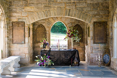 A Fall styled wedding shoot (Ginny Williams Photography) Tags: halloween fall cemetery wedding styled shoot stylized table black sequintablecloth flowers raleighnorthcarolinaphotographer raleighnc autumn inspired themed purple gold fuscia pink light gothic stone tablescape plates seasonal weddingcolors colorscheme colorpallette october door sunlight beautiful sequin blog blogger ncblogger lifestyle room bright season