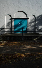 X (dotintime) Tags: x spot scratch mark door blue aqua pool fall autumn leaves shade shadows mottled dappled dotintime meganlane