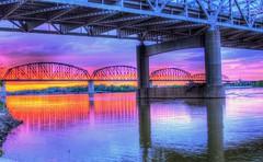 The Colors Of Sunrise (Phyllis74) Tags: bridge water sunrise river indiana ohioriver bigfourbridge jeffersonvile