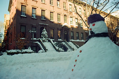 West Village Snowman 2010 (ngolebiewski) Tags: nyc snow film 35mm snowman westvillage photographs oneway canonae1 blizzard snowday
