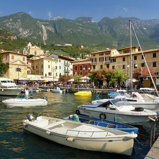 The little harbor of Malcesine between Monte Baldo and lake Garda