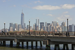 New York Skyline and closed portion of Hudson River Walkway (StacyGKinNJ) Tags: center jersey trade libertystatepark cityfreedom towernyworld
