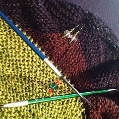 Tagged by @knitsophrenic for #widn . Still working on my Eris shawl. #knitting #malabrigo #bugga  I tag @bevknits @theindigomuse @craftydiversions and @tricycles No pressure to play. (Mooflower) Tags: knitting shawl malabrigo bugga signatureneedles iphoneography