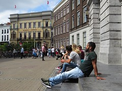 utrecht stadhuisbrug (gerben more) Tags: street people man building men netherlands square beard utrecht nederland streetlife streetscene sunbathing handsomeman