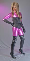 Shiny Black & Purple Cat! (kaceycd) Tags: crossdress tg tgirl lycra spandex wetlook catsuit satin corset gloves operagloves boots vinylboots sexyboots kinkyboots thighboots stilettoboots highheels stilettos s