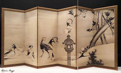Roosters and hens with pine and plum (DameBoudicca) Tags: itjakuch  tokyo tokio  japan nippon nihon  japn japon giappone tokyonationalmuseum  nationalmuseumtokio museonacionaldetokio musenationaldetokyo museonazionaleditokyo muse museum museo  hen hna chicken huhn gallina poule  pollo rooster cock tupp hahn gallo coq  screen skrm schirm paravento mampara