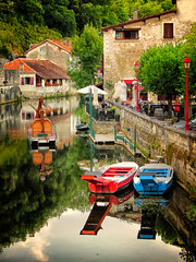 Brantome .. The Venice of the Dordogne (Missy Jussy) Tags: brantome france southwestfrance scene village historical reflections water river riverdronne buildings tourism tourists people restaurants trees canon canonpowershotsx60 boat biketrip holiday