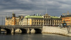 Norrbro and Stock Market in Stockholm, Sweden 25/8 2016. (photoola) Tags: stockholm norrbro bro stockmarket bridge palace gustavadolfssquare photoola sweden water foreign office ud utrikesdepartementet sagerska palatset arvfurstens palats