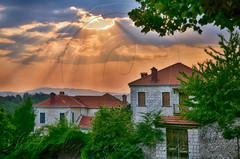 """"""""""" H.D.R. (Dimitil) Tags: vasiliko pogoni oepirus hepire greece hellas stonehouses tradition architecture nature sunset sunrays rays clouds traditionalarchitecture stonevillages village country ruralscenes"""
