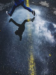 (benoitrouchaleau) Tags: iphone water jump kid colors shadow street