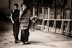Young monks (karmajigme) Tags: monk monastery bhuddhist bhutan young youth religious monochrome blackandwhite noiretblanc nikon