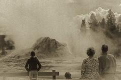 Greetings from Yellowstone (Human_Nature Photography) Tags: vintage nature castlegeyser eruption yellowstonenationalpark uppergeyserbasin oldfaithful clouds steam beauty human
