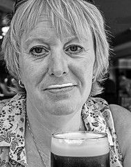 Beer Moustache (BW) (Olympus OMD EM5 & 12-32mm Pancake Zoom) (markdbaynham) Tags: people portrait bw monochrome oly olympus omd em5 csc mirrorless evil m43 mft m43rd micro43 micro43rd 1232mm pancake zoom