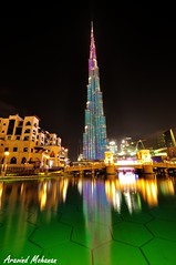 Iconic Tallest Tower -BurjKhalifa,Dubai. (Aravind Mohanan) Tags: burj khalifa dubai uae reflection lights iconic
