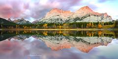 Sunrise Glory (Margarita Genkova) Tags: wedge pond sunrise clouds pink lake mountains peaks trees fall reflection