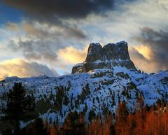 Waiting for the Fall (Robyn Hooz (away)) Tags: dolomiti autunno neve alberi snow trees pines nuvole clouds sunrise fall cortina averau