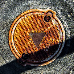 do not fill (MyArtistSoul) Tags: oxnard california monitoringwell iron cover rust corrosion texture diagonal shadow warning delta trianglecirclesquare minimal simple abstract urban square 1020 s100