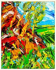 Rocky Hillside With Trees. (Steve.D.Hammond.) Tags: rocky hillside with trees