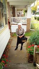 Ready To Saunter (Laurette Victoria) Tags: woman female laurette milwaukee sidewalk silver pencilskirt blouse animalprint purse