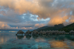 Tranquility (CloudRipR) Tags: sky clouds reflections water ocean calm blue moorea nikon d300 sunset mountains tropics jungle hut french polynesia