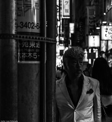 In the shadow (Audrey_Lamy) Tags: japon japan tokyo roppongi shadow ombre travel voyage trip holiday blackwhite black white noirblanc noir blanc homme men costume temps time light lighting street streetphotography photography hidden hide