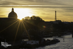 Exploding (Lonely Soul Design) Tags: paris eiffel tower pont des arts neuf sun reflection orange sky sunset