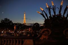 Eiffel, moon and bridge (lgh75) Tags: theparisphotographymeetupgroup paris sunset couchdesoleil bridge pontalexandreiii pont twilight toureiffel seine silhouette