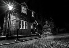 Spirit of Kelsey SQ (D.J.Flynn) Tags: halloween 206 2016 scare fright trick or treat spook ghost spirit woman figure ghostly guy faulkes victorian dress female building buildings london buildingsoflondon age night exposure village famous rich black white