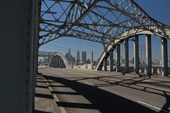 Steel Arch Span, 6th Street Bridge, Downtown LA (Mastery of Maps) Tags: california road ca street city railroad bridge urban water skyline architecture river concrete design la losangeles downtown arch skyscrapers central traintracks tracks landmark historic viaduct socal downtownla southerncalifornia span 6thstreet cityskyline losangelesriver sixthstreet downtownlosangeles centralcity steelarch