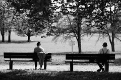 Private, but alone (Al Fed) Tags: park old woman man contrast bench private sitting loneliness young sv separation separate 20130425 photospaziergang