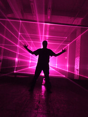 W  -  Berlin - Laser Light (Lumatic) Tags: city pink light portrait people selfportrait abstract man berlin art silhouette electric darkroom self myself real photography neon ray glow emotion space performance dream culture surreal beam event virtual future laser glowing session rays moment beams available happening