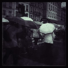 The tears of the capital (LoLa Cha) Tags: bw paris umbrella pluie parapluie 2013