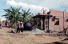 Construction in Village (Gene Whitmer) Tags: vietnam 1972 dinhtuong