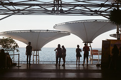 000014430013-r (chai_shun_lai) Tags: canonet ql17 giii g3 kodak colorplus 200 analogue photograph rangefinder film jakarta indonesia baywalk mall sea shore sky relax membrane structure people silhouette white blue daytime urban open space water front