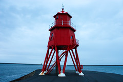 The Groyne Lighthouse (The_Waugh) Tags: lighthouse river coast weather moody cloudy red sea groyne south shields tyne outdoor