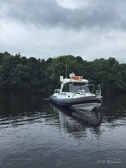 Police boat at rest (Lealtadpics) Tags: ulster iphone nireland water police psni cofermanagh floating ladygrey boat lougherne