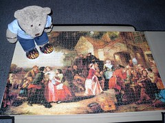 It's not Nashunal 'Spress... (pefkosmad) Tags: jigsaw puzzle leisure hobby pastime 1500 pieces complete art painting arrivalofthecoach jrpuzzles victorian thomasfalconmarshall 1850 18181878 tedricstudmuffin teddy bear ted cute cuddly plush soft stuffed toy notnationalexpress people