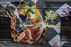 Acca Dacca tribute (Howard Ferrier) Tags: oceania victoria lane transportcarriageway australia lightning cap graffiti guitar alley angusyoung clothing musician melbourne cityscape greatermelbourne celebritiy architecture artwork wall tourism musicalinstrument transport acdc acdclane people occupations photography