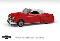 1950 Chevrolet Stylieline Convertible (lego911) Tags: chevrolet chevy chev styleline convertible 1950 1950s classic softtop auto car moc model miniland lego lego911 ldd render cad povray usa america lugnuts challenge 107 saturdaymorningshownshine saturday morning show n shine foitsop