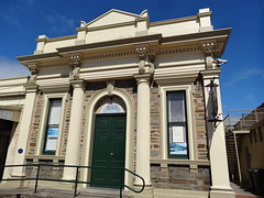 Victor Harbor Institute building. It opened in 1878 and in 1935 was taken over by the Town Council as the local library. Now used by the RSL. Architect was Roland Rees. (denisbin) Tags: institute rsl victorharbor southcoast library bluestone classical pediment pillars columns greek