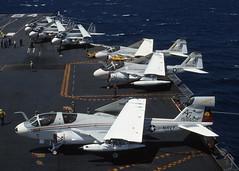EA-6B Prowler 158650 of VAQ-136 AG-617 (JimLeslie33) Tags: ea6b prowler a6 grumman naval aviation usn navy olympus om1 uss constellation cv64 vaq136 vaq ag 158650 ea6 jammer ecm sead alq99 gauntlets
