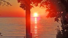 Sunset on Huron Lake, Kincardine, Ontario, Canada DSCF9292 (soniaadammurray - OFF) Tags: digitalphotography sunset lakehuron kincardine ontario canada lake water reflections trees nature sun