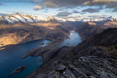 Golden sunrise from Sgurr Na Stri overlooking the Cuillins (Joey Hodgson) Tags: mountains sunrise scotland uk water rocks thecuillins snow clouds sky isleofskye skye isle sony sonya55 sonycamera joeyhodgsonphotography photography landscape landscapephotography winter