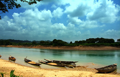 (Sajeeb75) Tags: landscape outdoor sky black blue cloud river boat green forest travel tree bangladesh