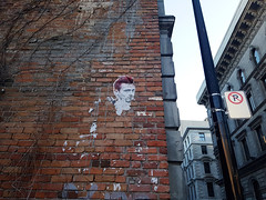 James Dean (Exile on Ontario St) Tags: jamesdean montral mur briques brick wall james dean montreal oldmontreal streetart art street vieuxmontral wheatpaste wheat paste visage face torn damaged building difice immeuble