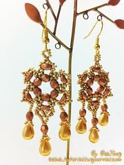 Easy Twin Earrings (BeeJang - Piratchada) Tags: brown bronze gold golden beads czech twin drop bead earrings netting beadwork beadweaving