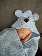Blue Bear Blankie (UniquelyEwe) Tags: bear blue baby doll crochet blanket afghan reborn uniquelyewe